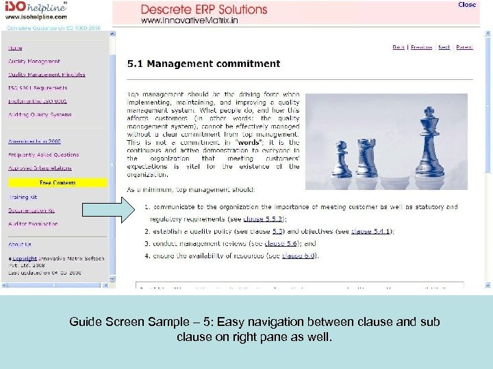 Guide Screen Sample – 5: Easy navigation between clause and sub clause on right