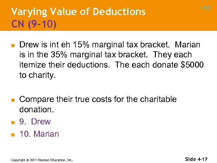 Varying Value of Deductions CN (9 -10) n n 4 -E Drew is int