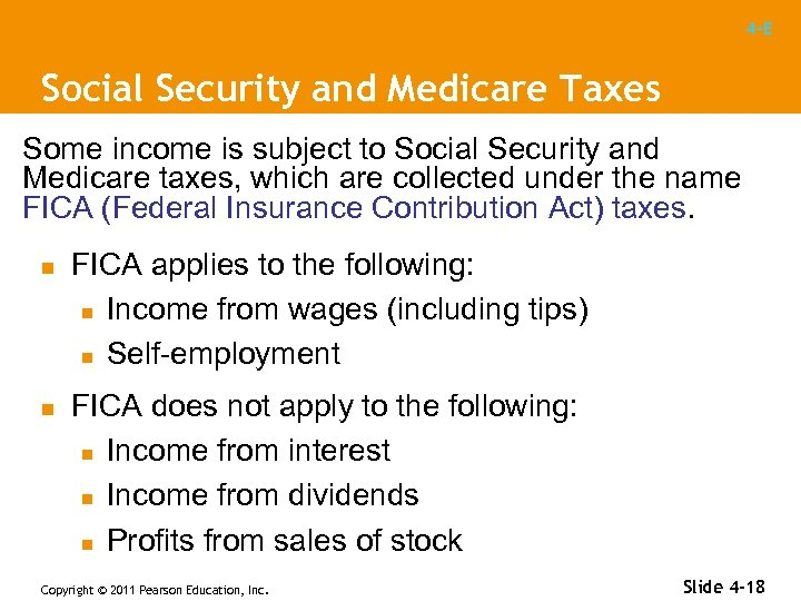 4 -E Social Security and Medicare Taxes Some income is subject to Social Security