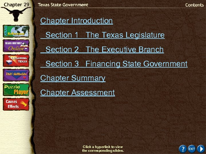 Chapter Introduction Section 1 The Texas Legislature Section 2 The Executive Branch Section 3