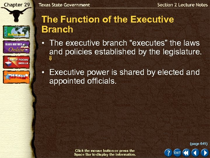 """The Function of the Executive Branch • The executive branch """"executes"""" the laws and"""