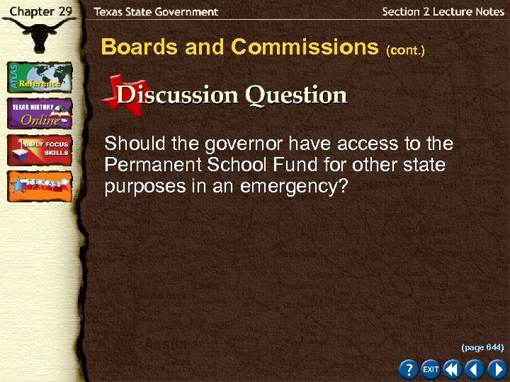 Boards and Commissions (cont. ) Should the governor have access to the Permanent School