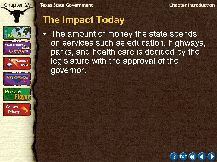 The Impact Today • The amount of money the state spends on services such