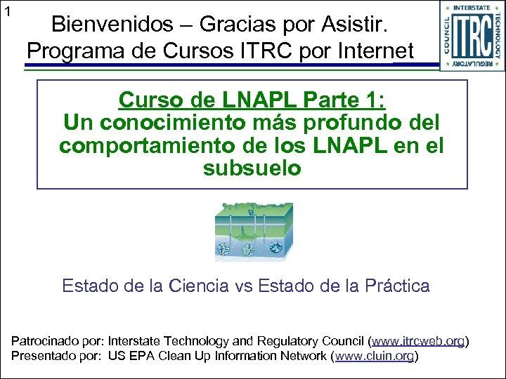 1 Bienvenidos – Gracias por Asistir. Programa de Cursos ITRC por Internet Curso de