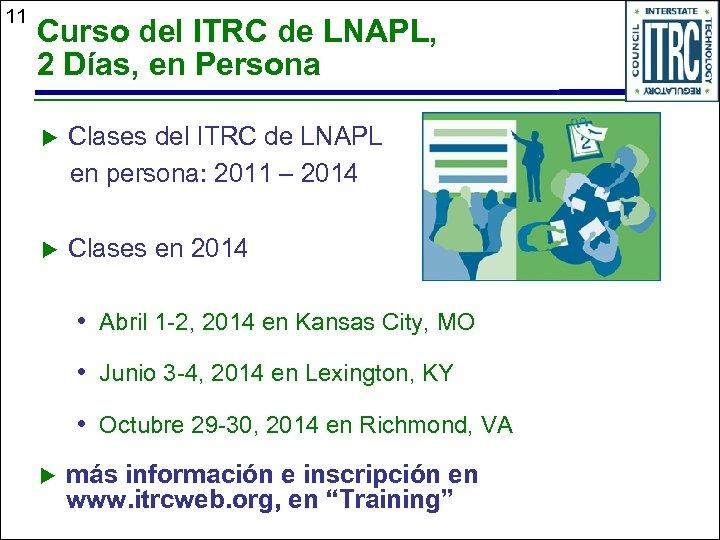 11 Curso del ITRC de LNAPL, 2 Días, en Persona u Clases del ITRC
