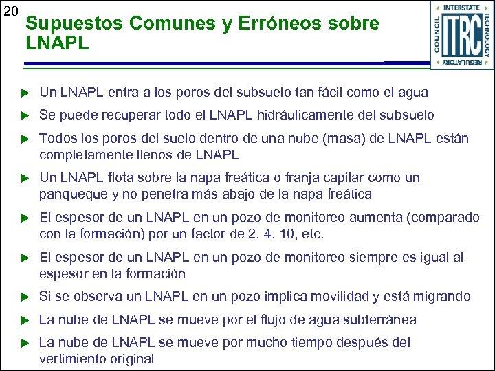 20 Supuestos Comunes y Erróneos sobre LNAPL u Un LNAPL entra a los poros