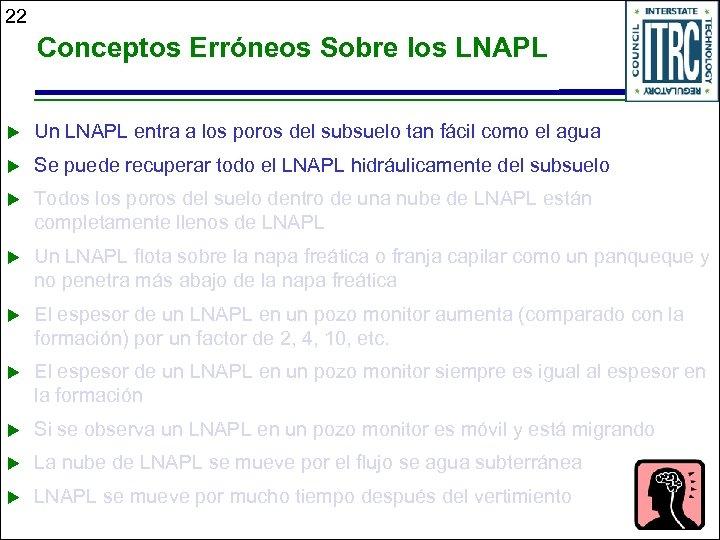 22 Conceptos Erróneos Sobre los LNAPL u Un LNAPL entra a los poros del