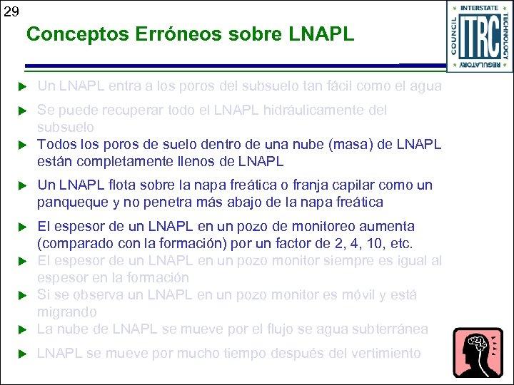 29 Conceptos Erróneos sobre LNAPL u Un LNAPL entra a los poros del subsuelo