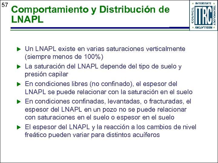57 Comportamiento y Distribución de LNAPL u u u Un LNAPL existe en varias
