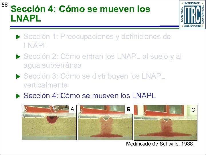 58 Sección 4: Cómo se mueven los LNAPL u u Sección 1: Preocupaciones y