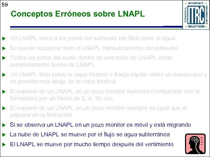 59 Conceptos Erróneos sobre LNAPL u Un LNAPL entra a los poros del subsuelo