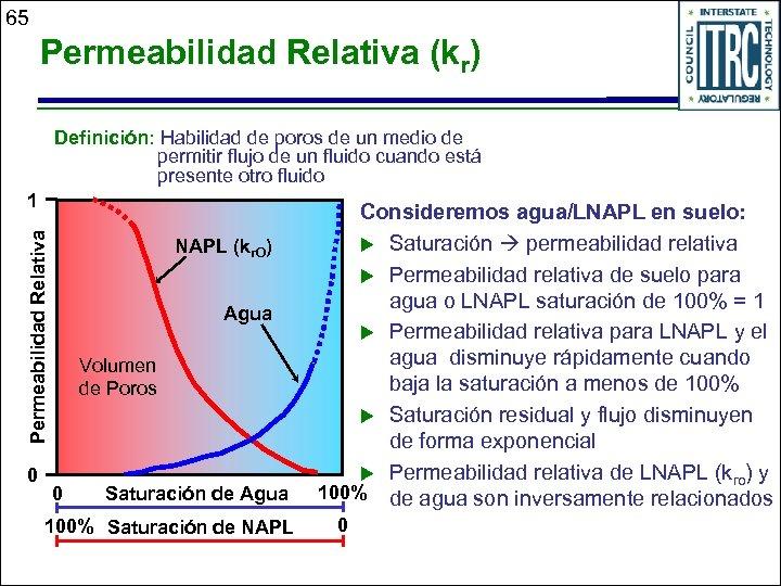 65 Permeabilidad Relativa (kr) Definición: Habilidad de poros de un medio de permitir flujo