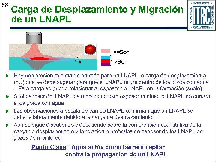 68 Carga de Desplazamiento y Migración de un LNAPL <=Sor >Sor u u Hay
