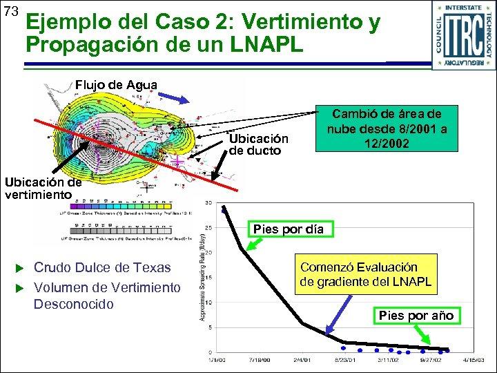 73 Ejemplo del Caso 2: Vertimiento y Propagación de un LNAPL Flujo de Agua