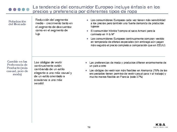 La tendencia del consumidor Europeo incluye énfasis en los precios y preferencia por diferentes