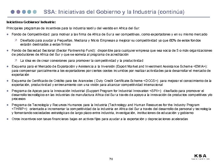 SSA: Iniciativas del Gobierno y la Industria (continúa) Iniciativas Gobierno/ Industria: Principales programas de