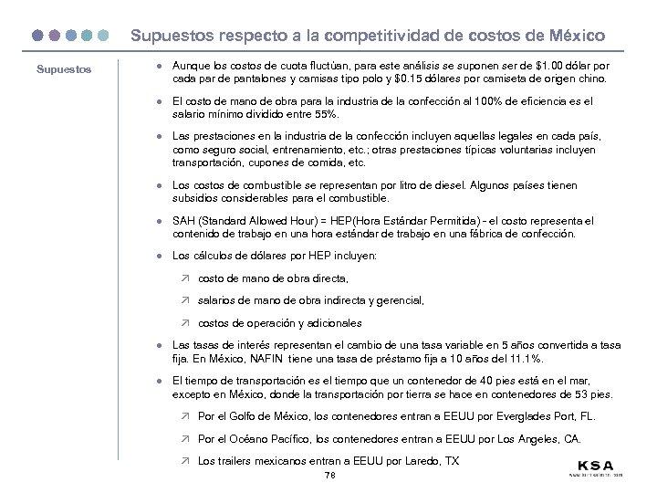 Supuestos respecto a la competitividad de costos de México Supuestos l Aunque los costos