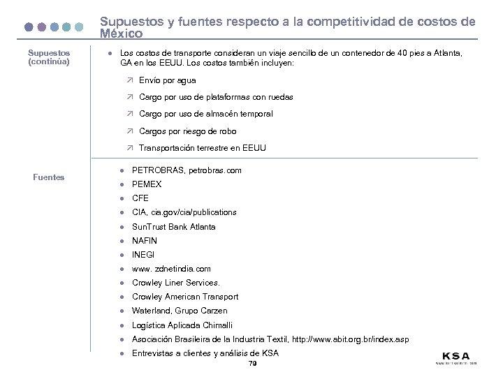 Supuestos y fuentes respecto a la competitividad de costos de México Supuestos (continúa) l