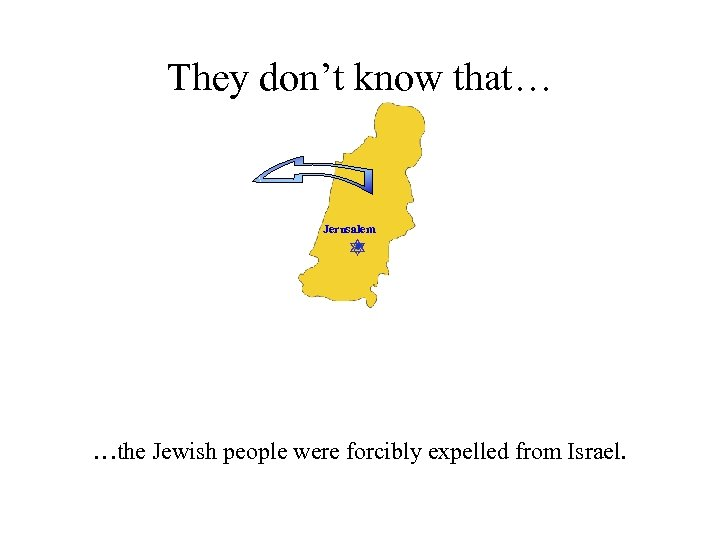 They don't know that… Jerusalem …the Jewish people were forcibly expelled from Israel.