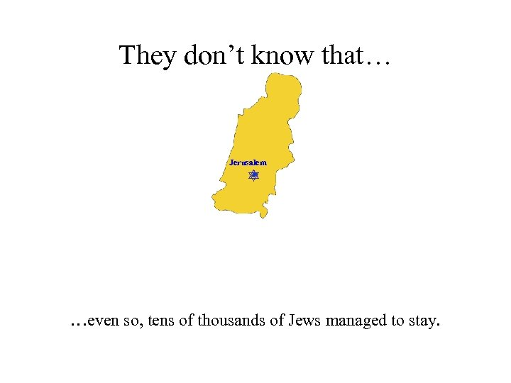 They don't know that… Jerusalem …even so, tens of thousands of Jews managed to