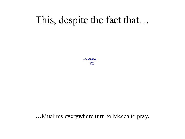 This, despite the fact that… Jerusalem …Muslims everywhere turn to Mecca to pray.