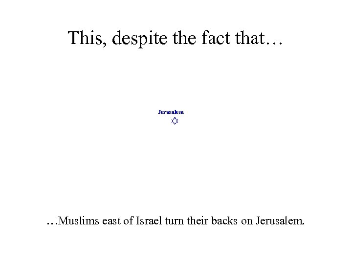 This, despite the fact that… Jerusalem …Muslims east of Israel turn their backs on