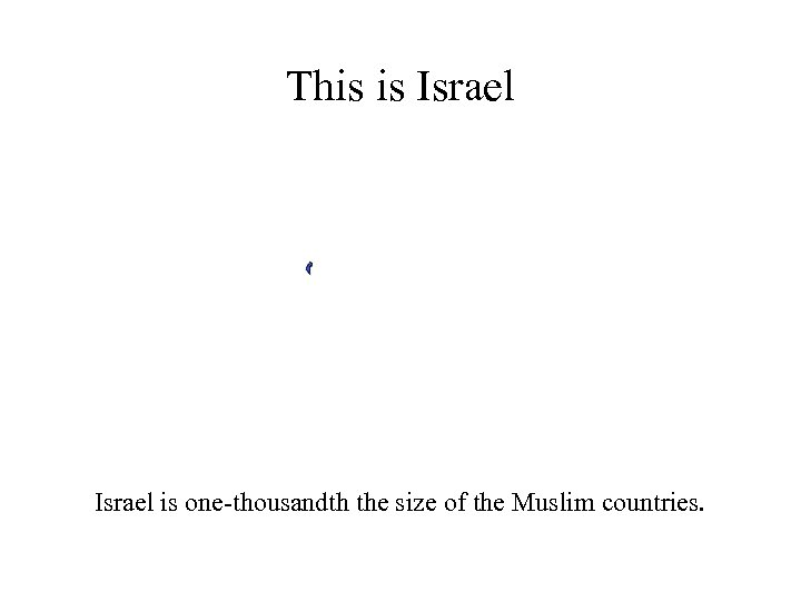 This is Israel is one-thousandth the size of the Muslim countries.