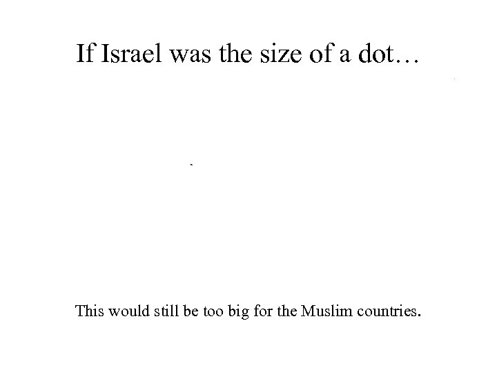 If Israel was the size of a dot… This would still be too big