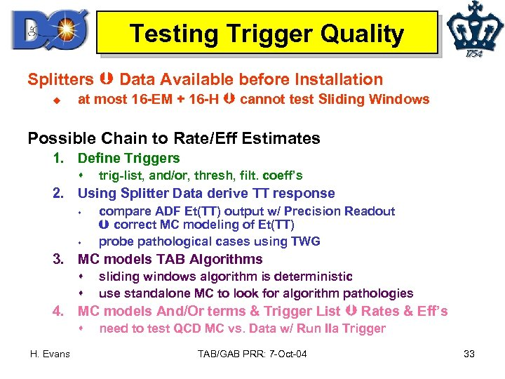 Testing Trigger Quality Splitters Data Available before Installation u at most 16 -EM +