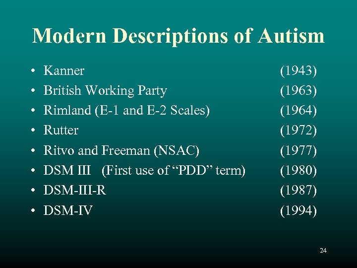 Modern Descriptions of Autism • • Kanner British Working Party Rimland (E-1 and E-2