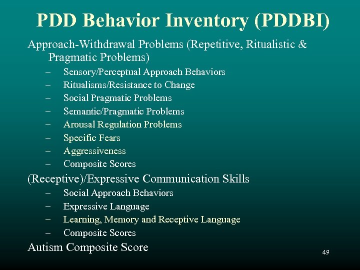 PDD Behavior Inventory (PDDBI) Approach-Withdrawal Problems (Repetitive, Ritualistic & Pragmatic Problems) – – –