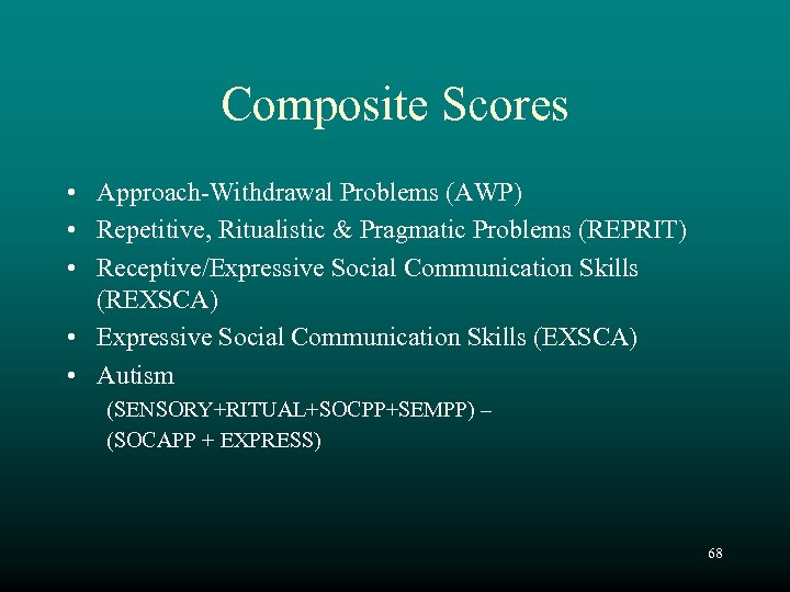 Composite Scores • Approach-Withdrawal Problems (AWP) • Repetitive, Ritualistic & Pragmatic Problems (REPRIT) •