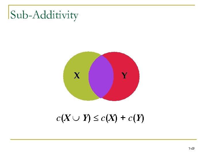 Sub-Additivity X Y c(X È Y) £ c(X) + c(Y) 7 -69