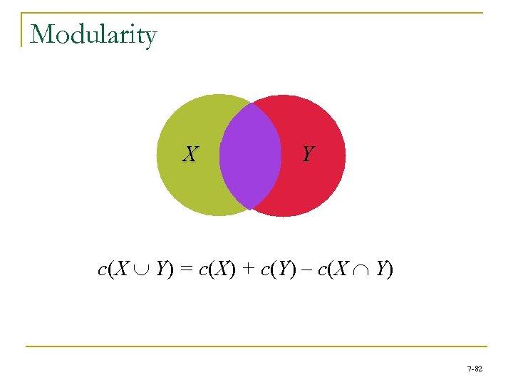 Modularity X Y c(X È Y) = c(X) + c(Y) – c(X Ç Y)