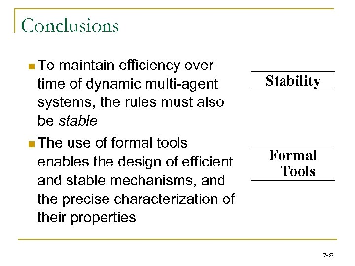 Conclusions n To maintain efficiency over time of dynamic multi-agent systems, the rules must