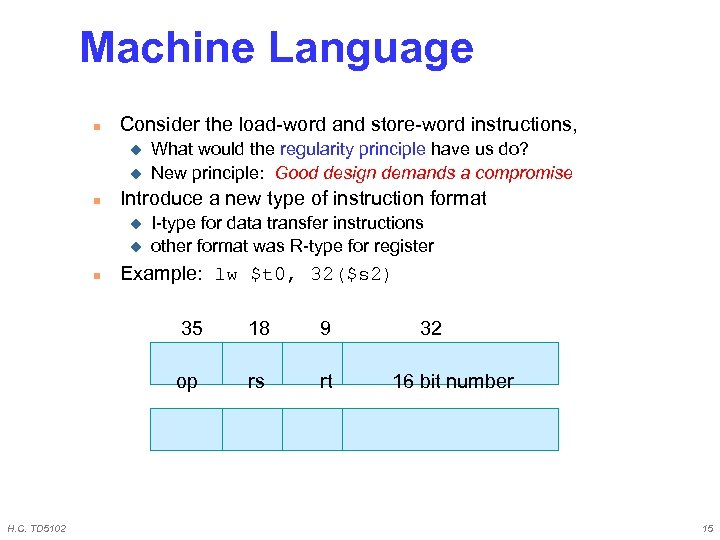 Machine Language n Consider the load-word and store-word instructions, u u n Introduce a