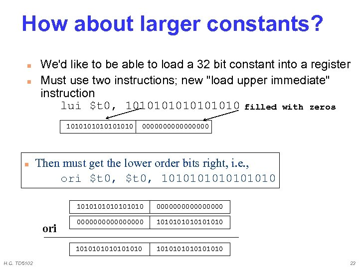 How about larger constants? n n We'd like to be able to load a