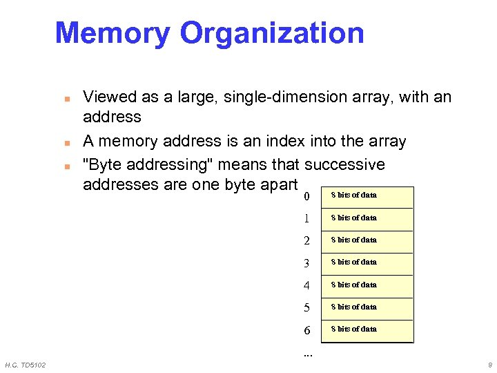 Memory Organization n Viewed as a large, single-dimension array, with an address A memory