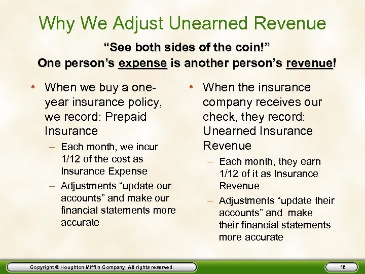 "Why We Adjust Unearned Revenue ""See both sides of the coin!"" One person's expense"