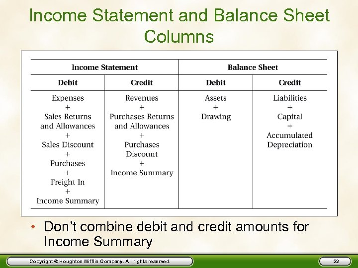 Income Statement and Balance Sheet Columns • Don't combine debit and credit amounts for