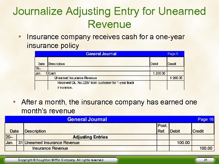 Journalize Adjusting Entry for Unearned Revenue • Insurance company receives cash for a one-year