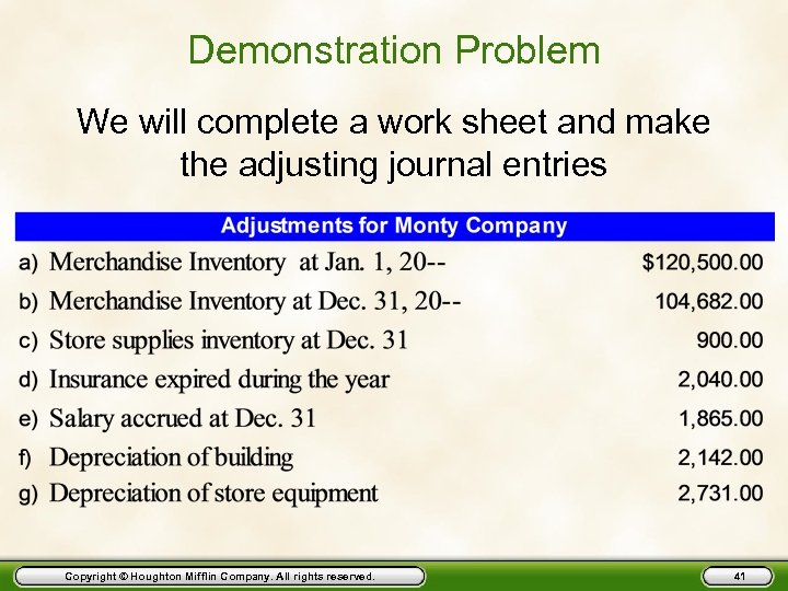 Demonstration Problem We will complete a work sheet and make the adjusting journal entries