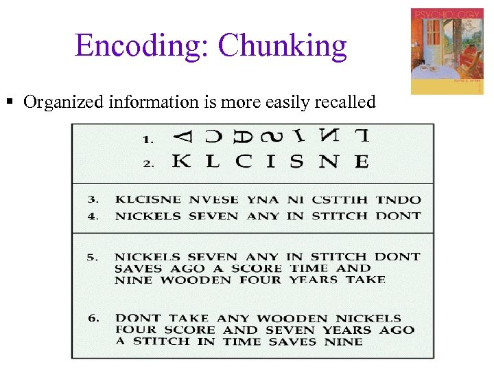 Encoding: Chunking § Organized information is more easily recalled