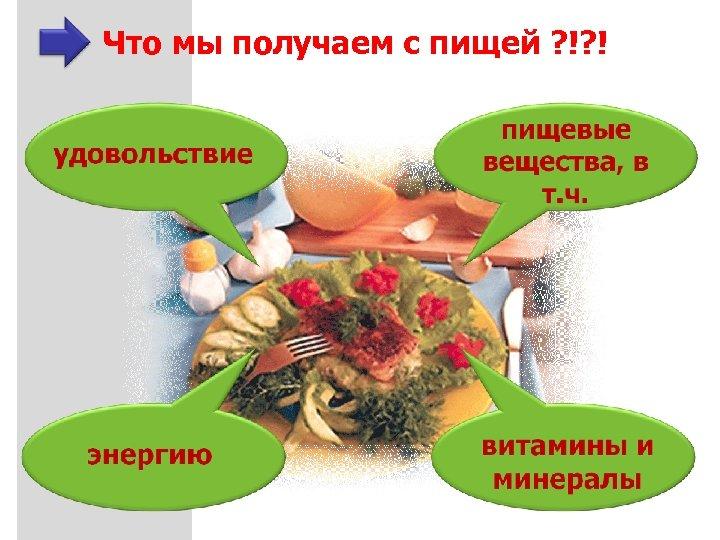 Что мы получаем с пищей ? !? !