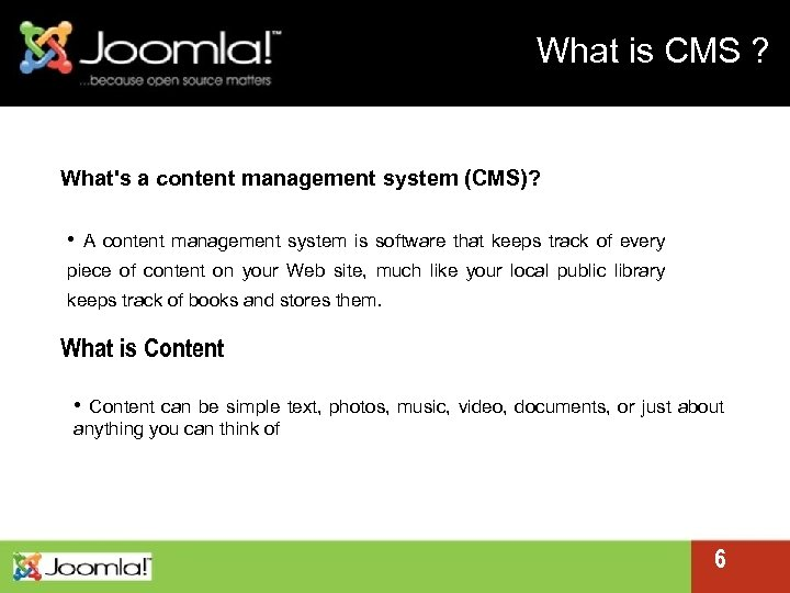 What is CMS ? What's a content management system (CMS)? • A content management