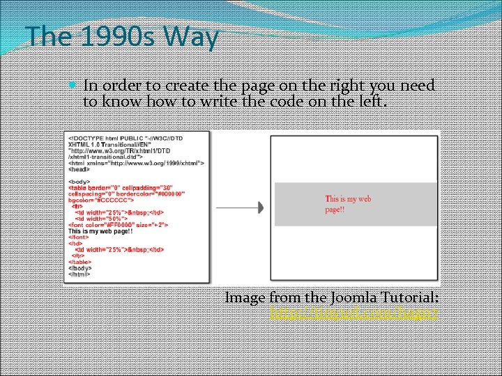 The 1990 s Way In order to create the page on the right you