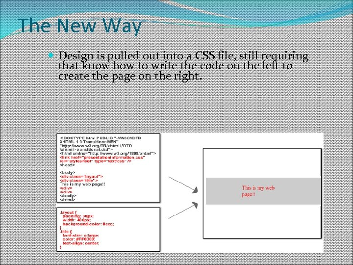 The New Way Design is pulled out into a CSS file, still requiring that