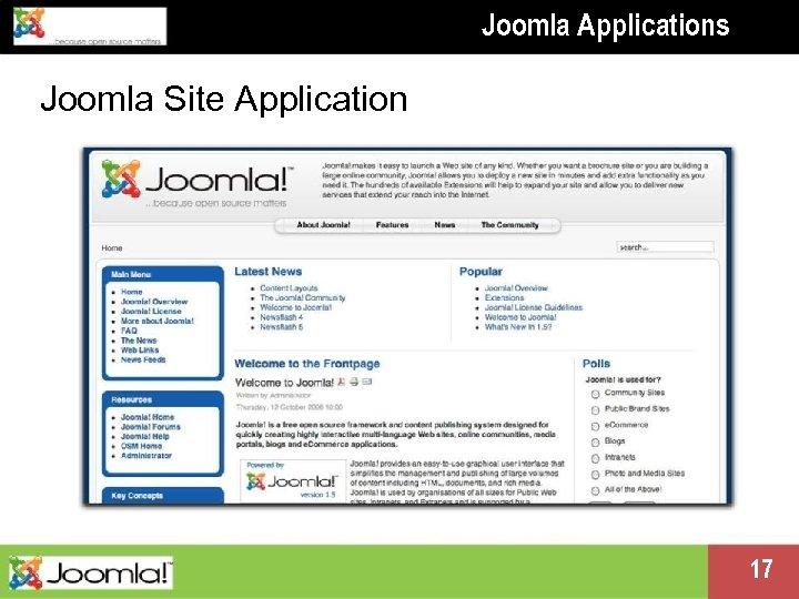 Joomla Applications Joomla Site Application Presentation name change me in master 17