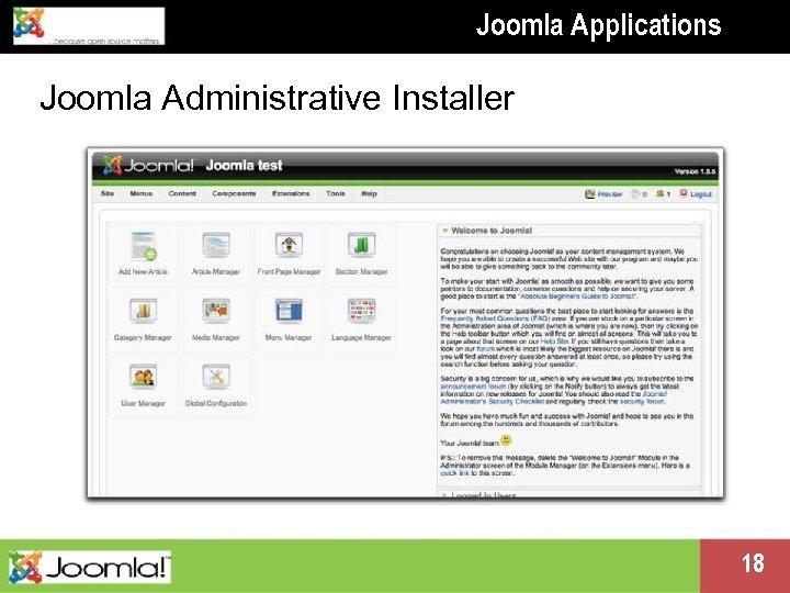 Joomla Applications Joomla Administrative Installer Presentation name change me in master 18