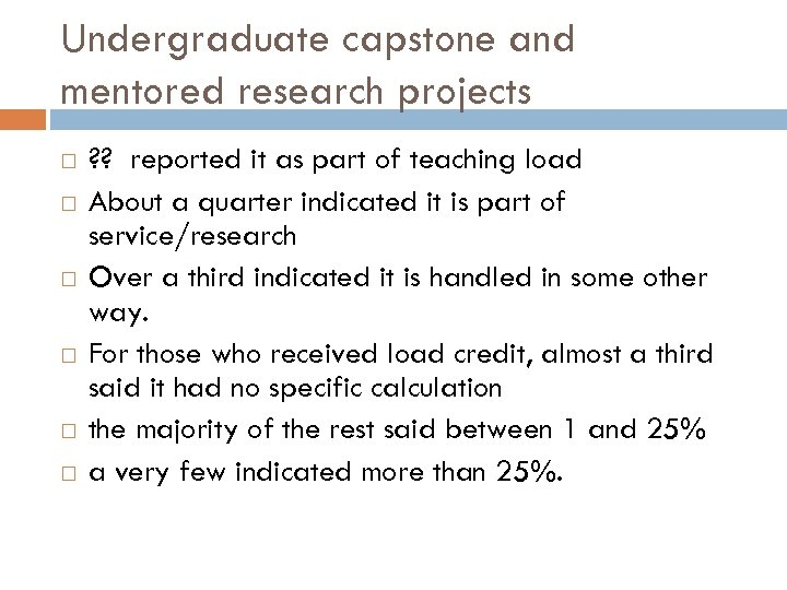 Undergraduate capstone and mentored research projects ? ? reported it as part of teaching